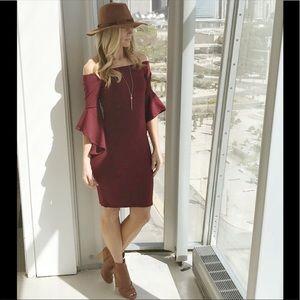 Dresses & Skirts - Burgundy off shoulders bell sleeve dress